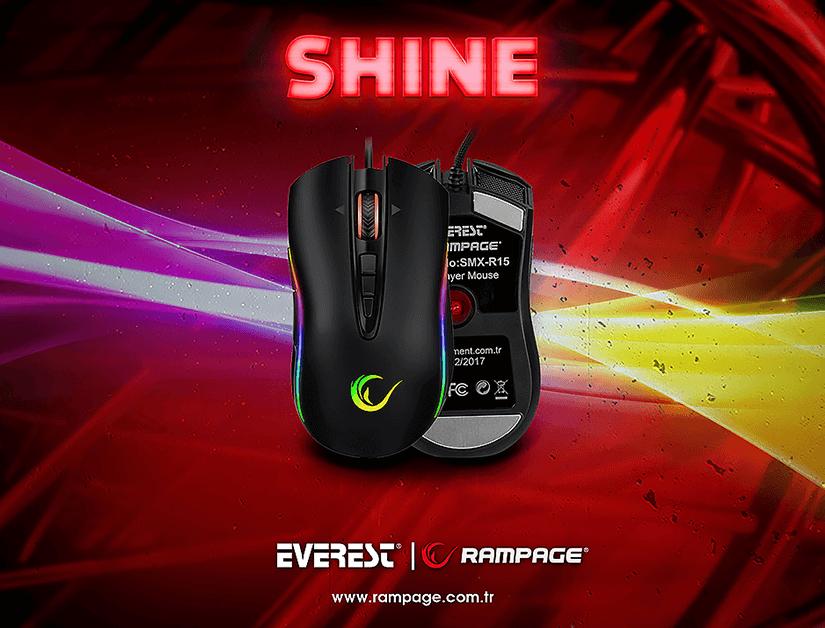 Rampage Shine SMX-R15 10000 DPi RGB Oyuncu Mouse